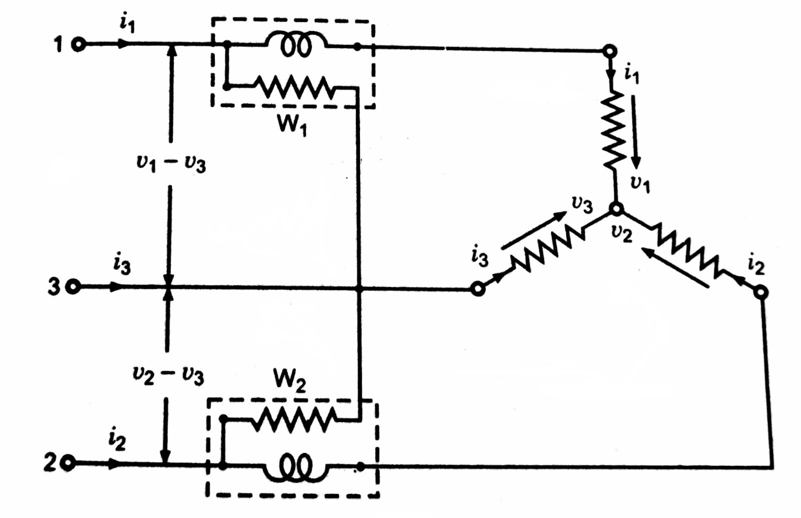 Two-wattmeter method of measuring 3-phase 3-wire power in Star connecetd system